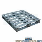 Galvanized Pallets 36x36 Four-Way Entry Skids Heavy-Duty Reusable Metal Pallets