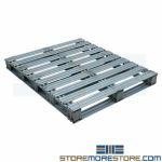 Galvanized Steel Pallets 40x48 Reusable Steel Skid Rust Resistant Heavy-Duty