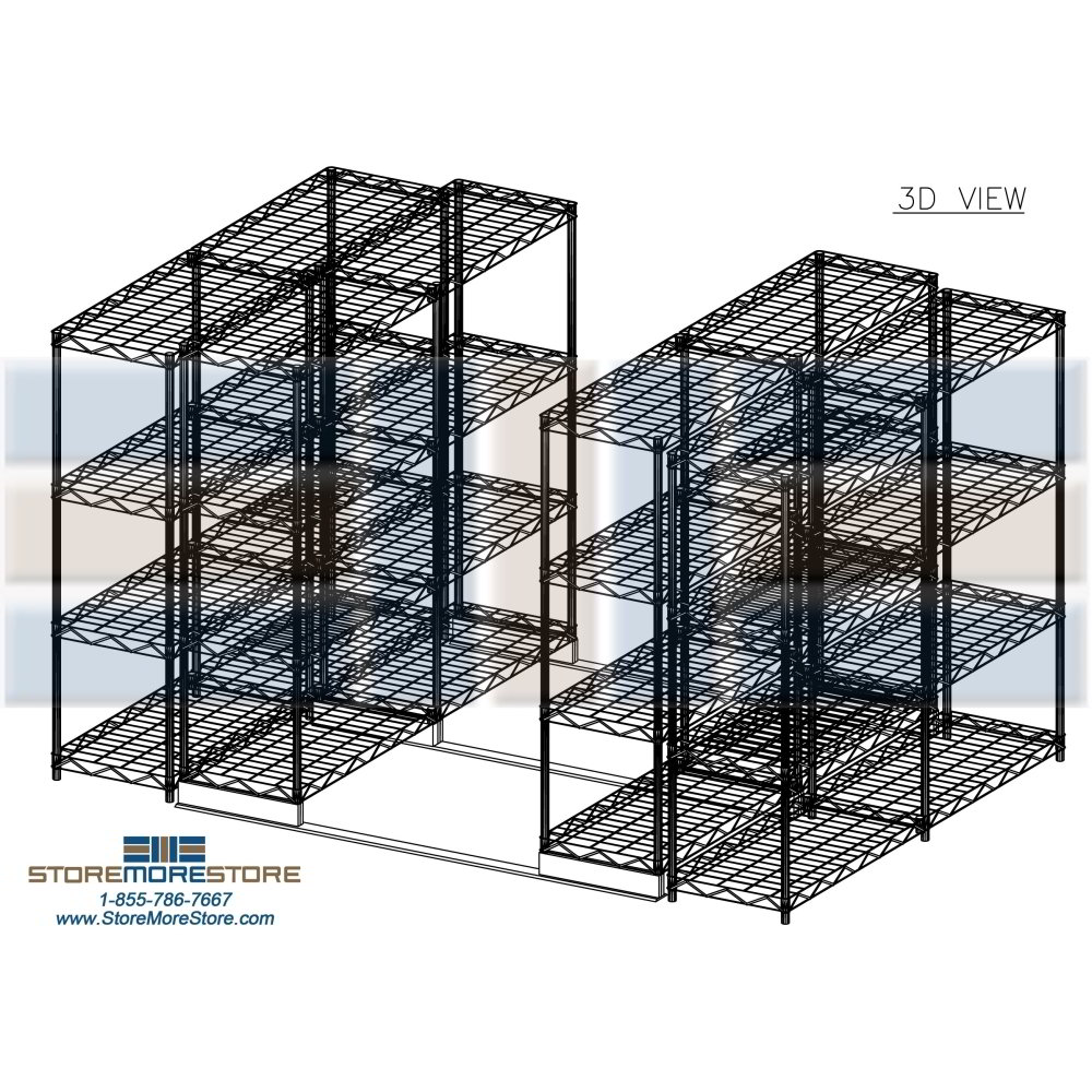 Sliding Wire Shelves on Tracks | Chrome Wire Shelving | Wire Storage ...