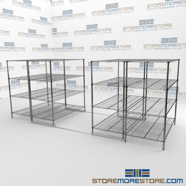 Sliding Adjustable Wire Shelving with ADA Tracks | Gliding Metal ...