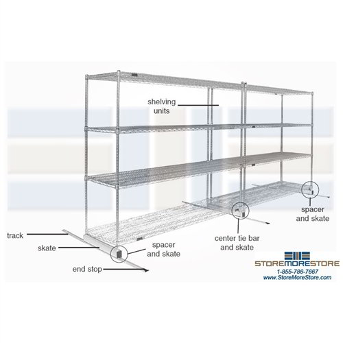 Rolling High Density Wire Shelving   Rolling Wire Rack Storage ...