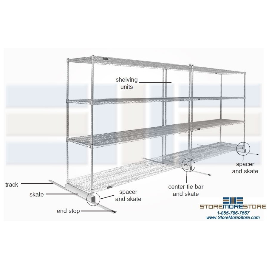 Sliding Commercial Wire Racks | Mobile Metal Wire Storage Racks ...