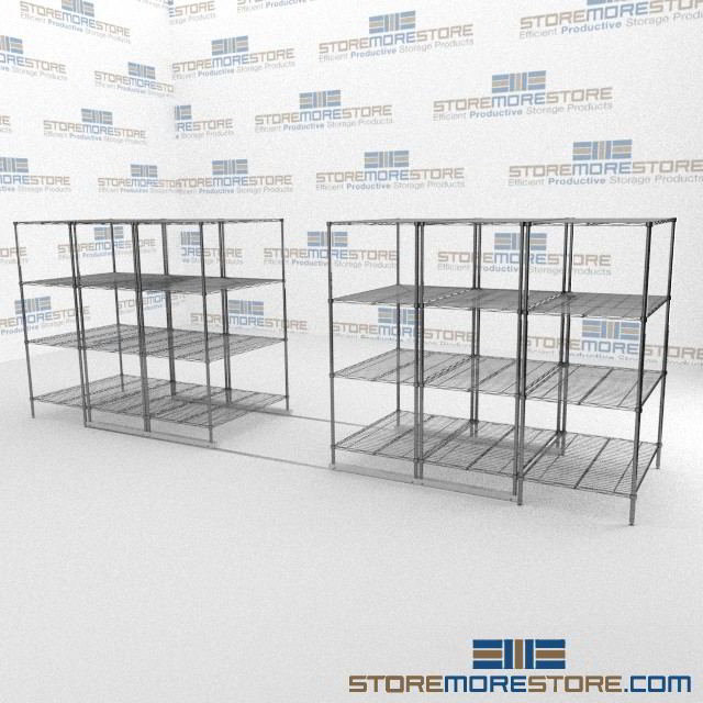 Rolling Hospital Wire Shelving on Tracks | Sliding Adjustable Wire ...
