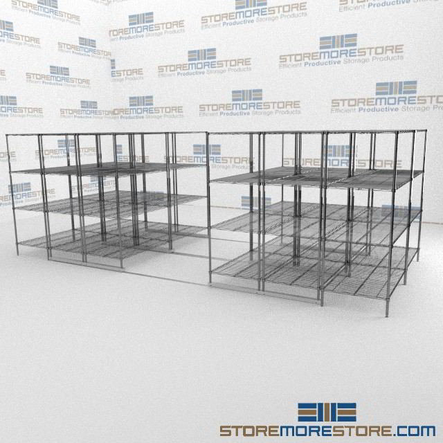 Rolling Wire Shelving with Floating Aisle | Gliding Adjustable Wire ...