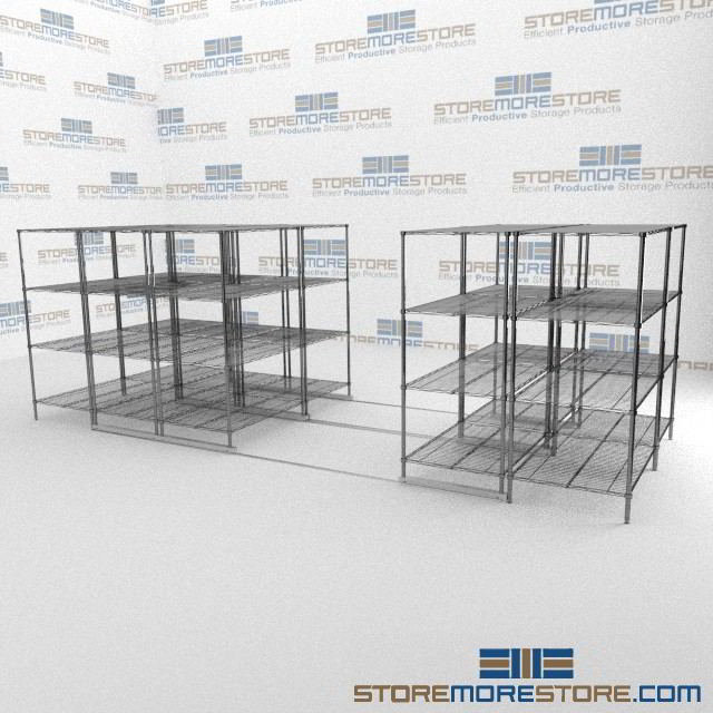Compact Wire Shelves on Rails | Gliding Adjustable Wire Rack | Wire ...
