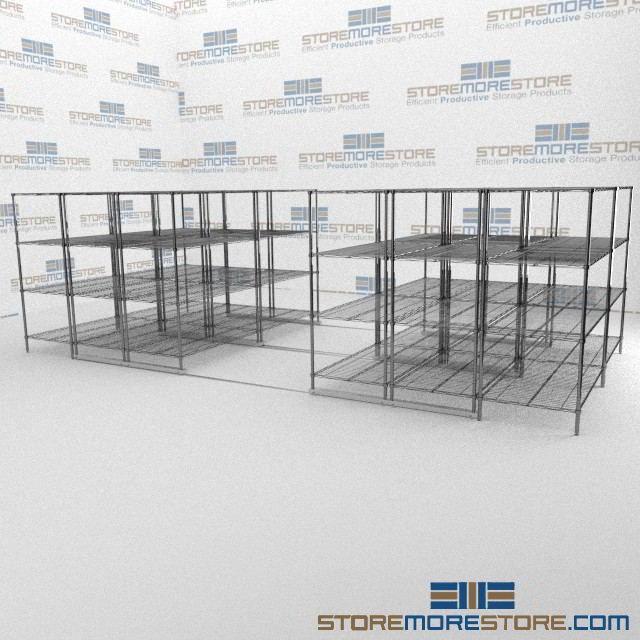 Rolling Adjustable Wire Shelves | Gliding Metal Wire Storage Racks ...