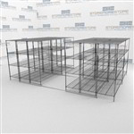 Shelving with Wheels on Floor Tracks for Bulk Restaurant Supply Storage