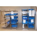 Floor Tracks with Rolling Wire Shelving to Condense Storage in Less Floor space