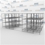 Restaurant Floor Track Shelves Storing Backroom Supplies in Less Space
