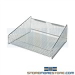 Wire Basket Shelf from Quantum used for par level inventory management systems wire baskets uniquely designed for high visibility and easy access to products Kanban Systems for Healthcare medical supplies stored in Bins Baskets Quantum 1617HBC
