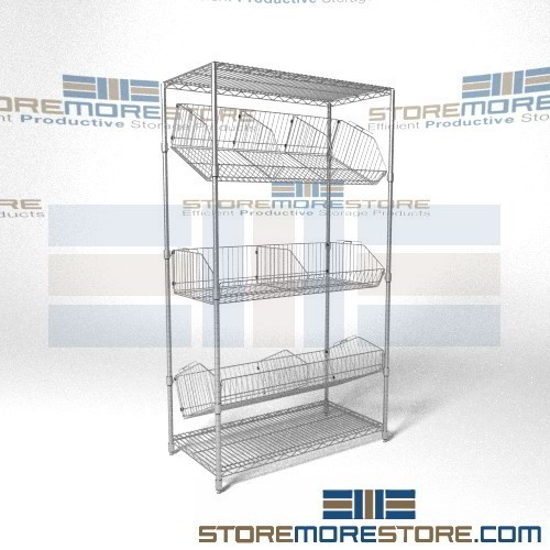 Wire Basket Drawer Systems | Wire Shelving Slanting Basket Shelves Adjustable Positions Inventory