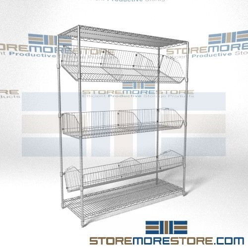 Angled Wire Basket Racks Tilted Positioning Shelves Chrome Supply ...