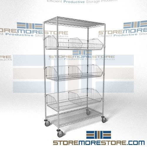rolling racks tilting wire basket shelves adjustable. Black Bedroom Furniture Sets. Home Design Ideas