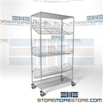 Quantum M1848BC6C Mobile wire basket shelving cart rolling storage racks adjustable chrome shelves perfect solution for medical supplies or working as a mobile supply basket cart for par inventory system, even as a exchange bin cart or exchange cart