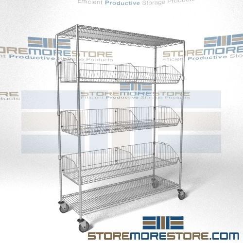 Wire Basket Carts Tilting Shelves Adjustable Wheeled Parts Storage ...