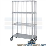 Linen Supply Cart Wire Shelf Rolling Sides