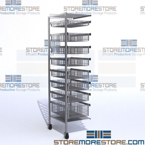 Rolling Wire Basket Racks Slide Out Storage Drawers