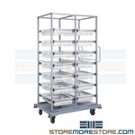 Plastic mesh basket and tray double bay rolling cart