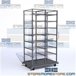 Rolling shelving cart with slide-out wire shelves