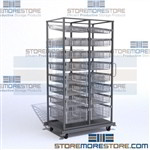 Mobile cart with wire basket drawer racks (double wide)