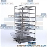 Wire basket shelving mobile transport cart