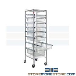 Wire Drawer Basket Racks Casters Medical HTM71 Stock