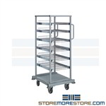 Pull-out wire shelf tray transport carts