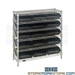 Small Bins On Chrome Wire Shelving Quantum Storage WR6-36-1236-109 Ships Free