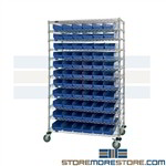 Wire Shelving With Small Part Bins Warehouse Racking Quantum WR74-2460-105106