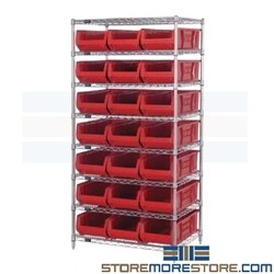 "24"" Deep Wire Bin Shelving Racks on Casters Quantum WR8-952 Free Quick Shipping"
