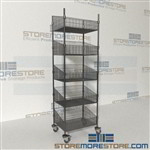 Quantum WRC74-BSK1824C-5 Four Post Wire Basket Shelving Cart medical carts on wheels
