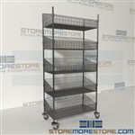 Quantum WRC74-BSK1836C-5 Wire Shelving Basket Cart medical supply carts