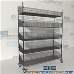 Quantum WRC74-BSK1860C-5 Basket Shelf Wire Cart Storage rolling wire racks