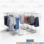 Hanging Garment Mobile Track Shelving Rolling Storage Racks Backroom Retail Store