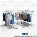 Retail Backroom High Capacity Storage Shelves Hanging Clothing Dresses Costumes