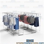 High Density Hanging Clothing Racks Backroom Retail Store Storage Shelving