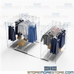 Space Saving Garment Storage Hanging Racks Shelves Retail Backroom Track Shelving