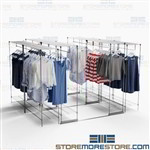 Hanging Clothing Storage Backroom Racks Shelves on Tracks Using Less Floorspace