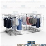 Backroom Garment Storage Savers Racks on Tracks Shelving Racks Hanging Clothes