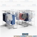 High Capacity Hanging Garment Racks Space Saving Storage Retail Backrooms
