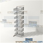 Cantilever wire basket rack has adjustable bin shelves that can be set at flat, 10 degree slope, or 30 degree slope allowing full access to parts stored in basket Quantum Ws70-SS18AD-7S High visibility, minimizes dirt accumulation, allow air circulation