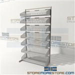 Tilting Wire Basket Shelf Cart Unit Cantilever Bin Shelves Quantum WS70-SS36-7S Chrome Storage Shelving