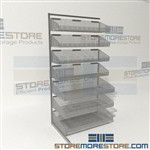 Wire Bin Shelving on Wheels Mobile Storage Bins Storing Supplies Quantum WS70-SS36AD-4S3L Partition wall Systems in a complete package with optional mobility kit designed for instant visibility easy access maximizing your storage area the half inch grid
