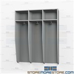Wall-Mount Wooden Lockers - Triple Wide Open Air Storage Cabinet