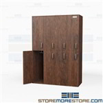 Double Tier Wood Lockers - Four Wide Student Storage Cabinet Price