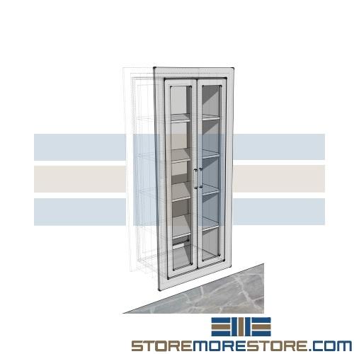 Glass Door Stainless Cabinet Operating Room Pass Thru Wall Storage ...