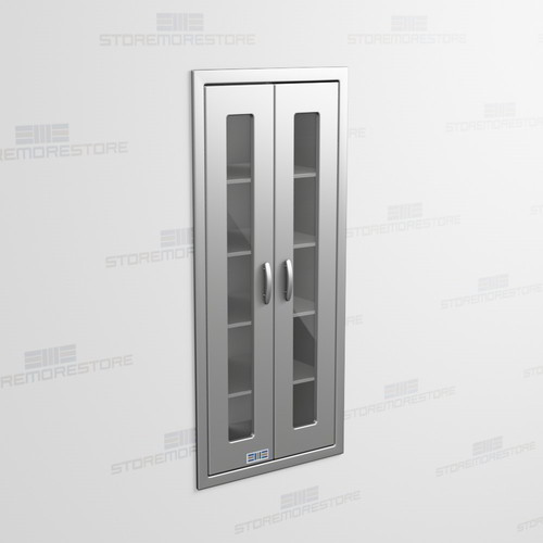 Tall Stainless Recessed Wall Cabinet With Hinged Glass Doors Medical