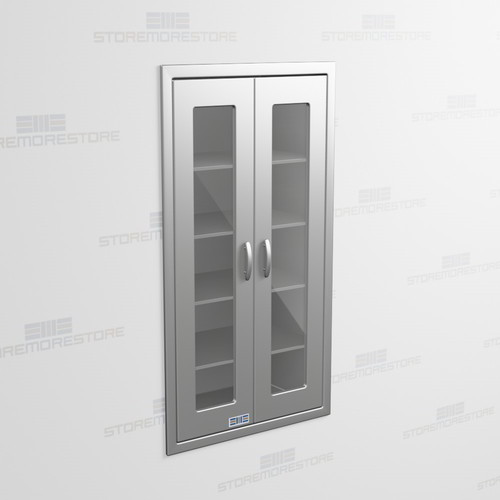 Recessed Wall Cabinets Stainless With Hinged Glass Doors For