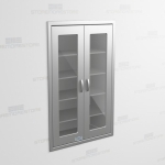 "Stainless Cabinet Flush In-Wall with Glass Hinged Doors (3' 0""W x 1' 6""D x 5' 0""H), #SMS-58-DH361863R"