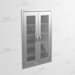 "Stainless Supply Cabinet with Glass Doors Recessed in Wall (3' 0""W x 2' 0""D x 5' 0""H), #SMS-58-DH362463R"
